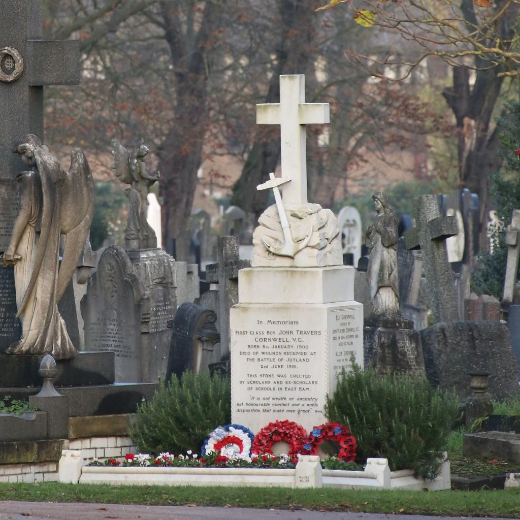 Jack Cornwell's grave at Manor Park Cemetery in East London