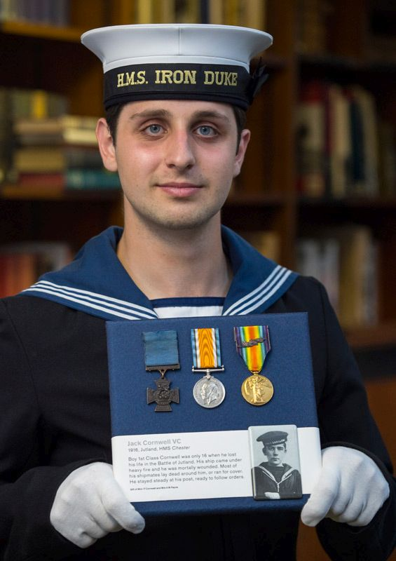 Jack Cornwell's great great nephew Alex Saridis who also serves in the Royal Navy (correct as of 2016). The photo shows him with his uncle's medals.