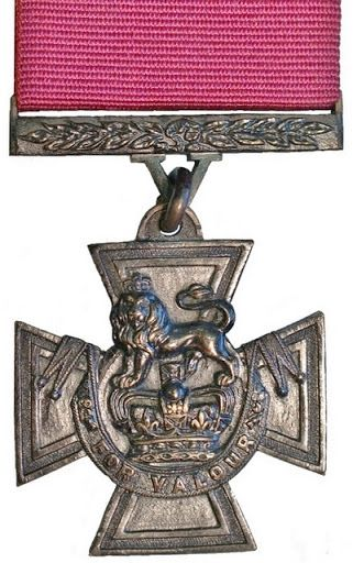 Victoria Cross with maroon medal ribbon